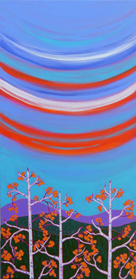 """Swoopy Skies, 36"""" x 18"""", acrylic on canvas, $1,300"""