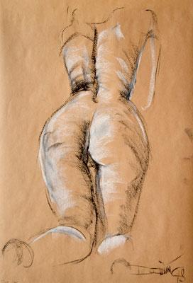 kniender Rückenakt - Pastellzeichnung 60x40 - 300€