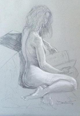 sitzender Akt - Bleistift und Kreide Zeichnung 60x40 - verkauft