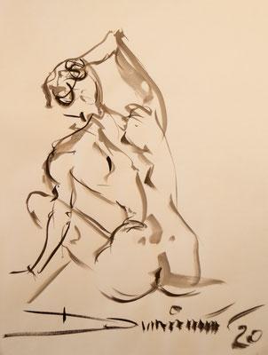 sitzender Rückenakt - Tuschezeichnung 60x40 - 350€