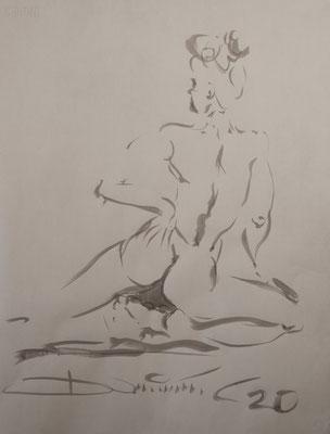 Rückenakt - Tuschezeichnung 60x40 - 350€