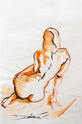 sitzender Rückenakt - Tuschezeichnung 60x40 - 750€