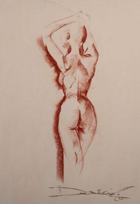 stehender Rückenakt - Pastellzeichnung 60x40 - 350€