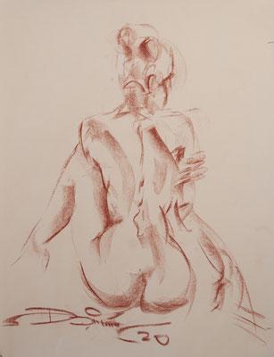 sitzender Rückenakt - Pastellzeichnung 60x40 - 600€