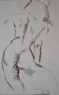 stehender Rückenakt - Pastellzeichnung 60x40 - 550€