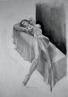 liegender Akt - Bleistift Zeichnung 60x40 - verkauft