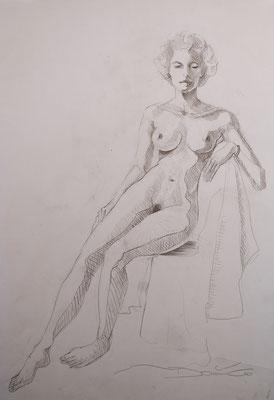 sitzender Akt - Bleistiftzeichnung 60x40 - 300€