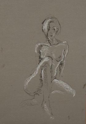 sitzender Akt - Zeichnung 60x40 - 650€