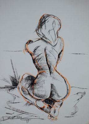 kniender Akt - Pastell- und Tuschezeichnung 60x40 - 500€