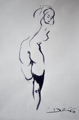 stehender Rückenakt - Tuschezeichnung 60x40 - verkauft