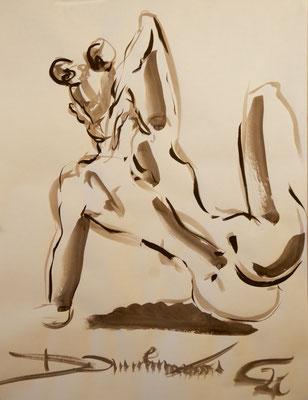 sitzender Rückenakt - Tuschezeichnung 60x40 - 600€