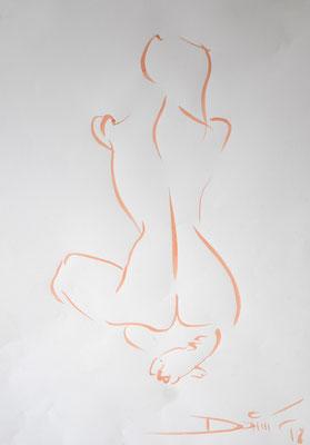 kniender Rückenakt - Tuschezeichnung 60x40 - 750€
