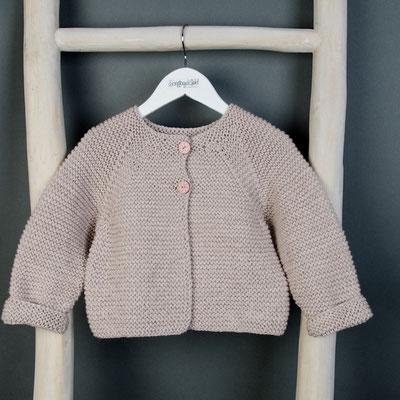 Kinderstrickjacke Baumwolle Wolle beige