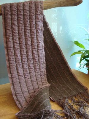 二重織ネックウェア・手紡ぎ糸×シルク糸、カラード原毛、化学染め
