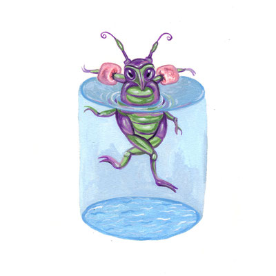 Day 21 - Swimming Bug (June Bug Drawing Challenge)