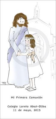 Modelo: Niña y Jesús. Técnica: Acuarela. Fondo: iglesia linea. Formato 6x16 cm punto de libro. Tipografía: 2