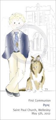 Modelo: Pepito. Técnica: Acuarela. Fondo: Iglesia linea + mascota color. Formato 7x15 cm.