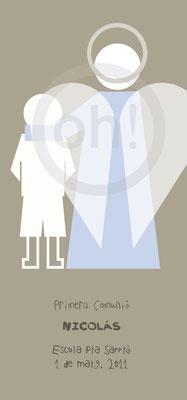 Recordatorio de Comunión minimalista Niño más ángel. Formato 7x15