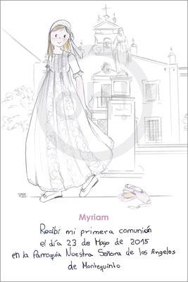 Modelo: Miryam. Técnica: Acuarela. Fondo: iglesia linea + ballet. Formato 8x12 cm. Tipografía: escrito por a niña