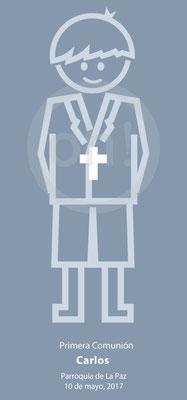 Recordatorio de Comunión niño minimalista. Formato 7x15