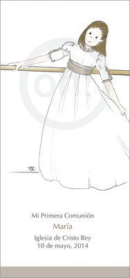 Modelo: María. Técnica: Acuarela. Fondo: barra ballet color, filete inferior color. Formato 7x15 cm. Tipografía: 8
