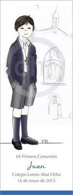 Modelo: Juan. Técnica: Acuarela. Fondo: Iglesia linea. Formato 6x16 cm punto de libro. Tipografía: el niño escribe su nmbre