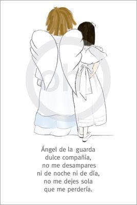 Modelo: Niña y ángel (de espaldas. Técnica: Acuarela. Oración 3. Formato 8x12 cm. Este modelo se puede hacer a dos caras.