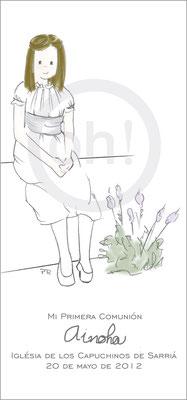 Modelo: Ainoha. Técnica: Acuarela. Fondo: flores.  Formato 7x15 cm. Tipografía: escrito por la niña