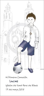 Modelo: Lucas. Técnica: Acuarela. Fondo: Iglesia linea + deporte. Formato 7x15 cm. Tipografía: 5