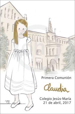 Modelo: Claudia. Técnica: Acuarela. Fondo: Colegio color. Formato 8x12 cm. Tipografía: la niña escribe su nombre
