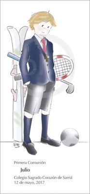 Modelo: Julio. Técnica: Acuarela. Fondo: deportes color. Formato 7x15 cm. Tipografía: 8