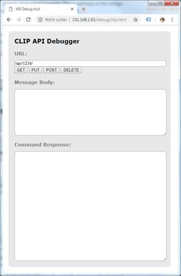 b8f82c903ad6 Nun geben Sie in der Adressleiste Ihres Browser die IP gefolgt von   debug clip.html ein. Es öffnet sich das API Debug Fenster (Abb. 2).