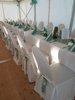 Bankettstühle mit Hussen