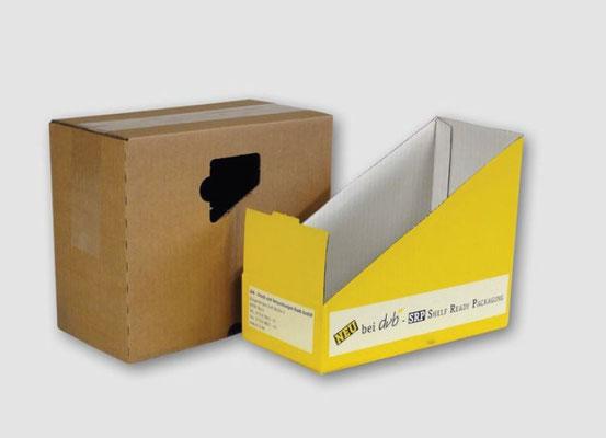 POS Produkte aus Wellpappe: Shelf Ready Packaging (SRP), Thekendisplays, Bodendisplays, Palettendisplays, Versandkartons, Offsetkaschierungen, Bag in Box - von RATTPACK® - SRP