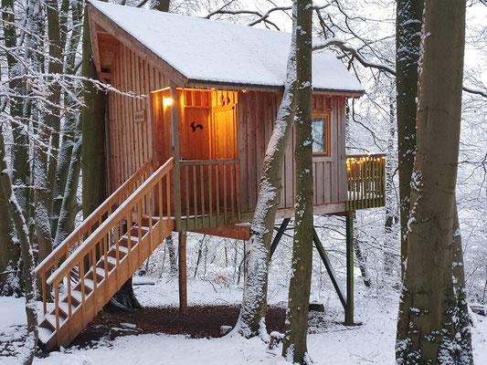 Baumhaus mit Schnee, Januar 2021, Bild: Baumhaushotel Solling.