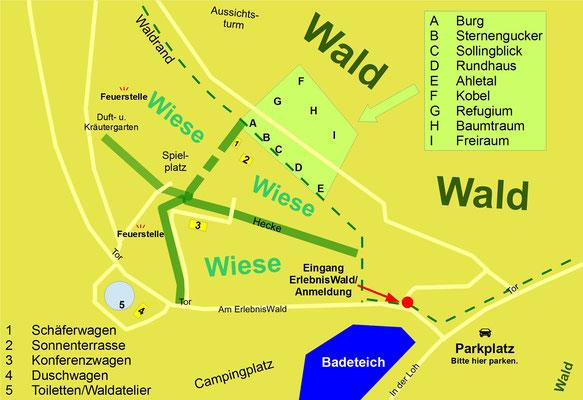 Übersichtskarte. Bild: Baumhaushotel Solling