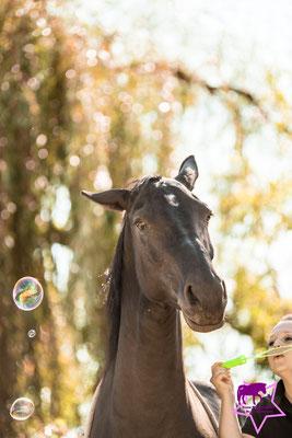 Ruth pustet Seifenblasen - Bella findet das mäßig lustig