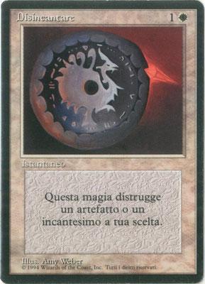 Entzauberung Italienisch Limited. Fallen-Empires-Design: Copyrightzeile verkleinert, jetzt Wizards of the Coast nennend.