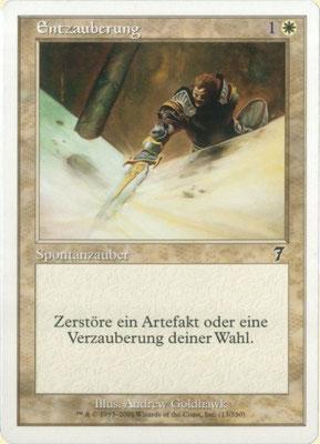 """Entzauberung Deutsch Siebte Edition. Gelbstich. Druckplattenfehler: Zyan Linie durch das zweite """"u"""" im Namen."""