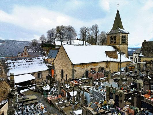 Eglise et cimetière de Murat le Quaire - Façon tableau - Massif du Sancy - Auvergne - France