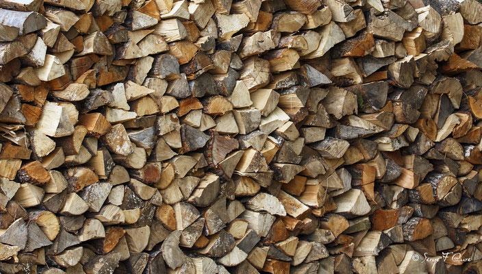 Le mur de bois à Murat le Quaire - Massif du Sancy - Auvergne - France