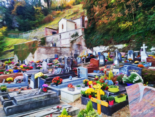 """""""Le cimetière de Oissel"""" Photo façon tableau peinture Serge Faure"""