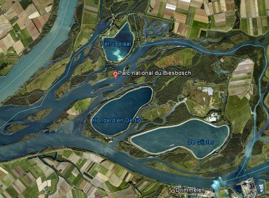 Vue satellite du Parc de Biesbosch - Cliquer sur la carte pour l'agrandir