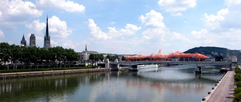 """""""La Vague"""" (sculpture - Un jardin suspendu sur le pont Boieldieu à Rouen - Pendant le festival Normandie Impressionniste - été 2010) - Rouen - Seine Maritime - Haute Normandie - France"""