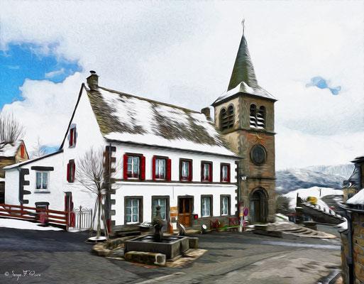 La maison d'hôte de la fontaine à Murat le Quaire - Façon tableau - Massif du Sancy - Auvergne - France