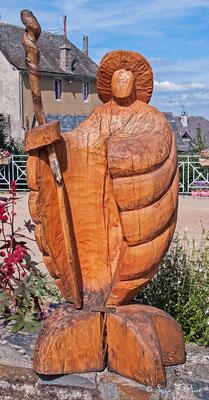 Statue de St Jacques à Golinhac - France - Sur le chemin de St Jacques de Compostelle (santiago de compostela) - Le Chemin du Puy ou Via Podiensis (variante par Rocamadour)