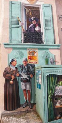 Détail de la fresque à l'angle du Faubourg St Jean et de la rue Droite au Puy en Velay - France - Sur le chemin de St Jacques de Compostelle (santiago de compostela) - Le Chemin du Puy ou Via Podiensis (variante par Rocamadour)