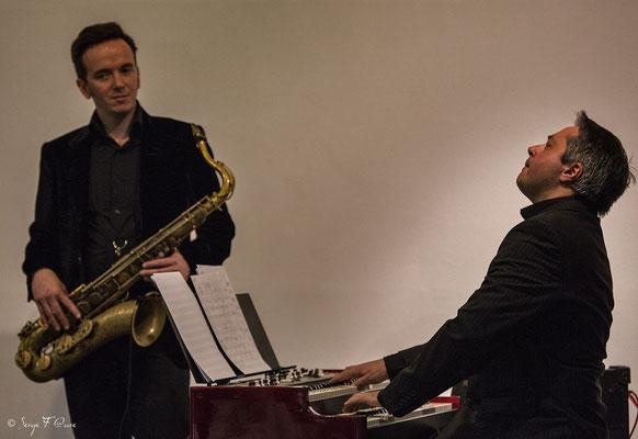 """Thierry Ollé (orgue) et Drew Davies (sax ténor) - """"The Hotdoggers"""" - Sancy Snow Jazz 2016 - Murat le Quaire - Auvergne - France"""