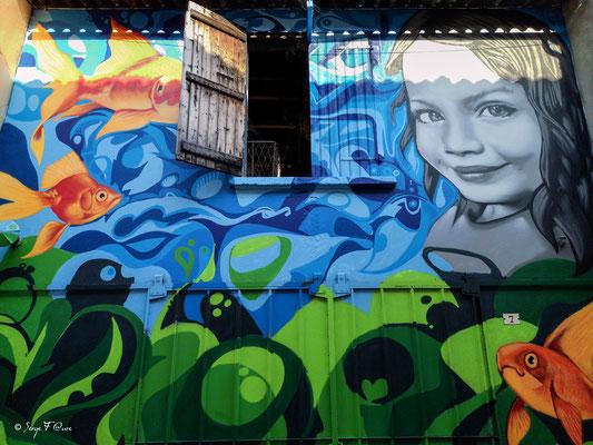 Façades et vitrines - Fresque dans le village d'Eauze - France - Sur le chemin de Compostelle - par Serge Faure