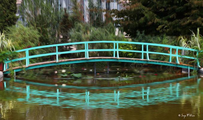 Photo façon tableau peinture Serge Faure (Pont japonnais façon Monet)